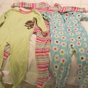 3 pair size 5T Cozy Footed PJ's